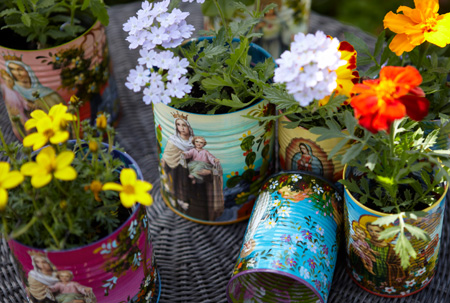 Hand painted tin cans